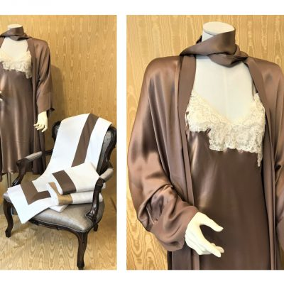 brown night gown and dressing gown